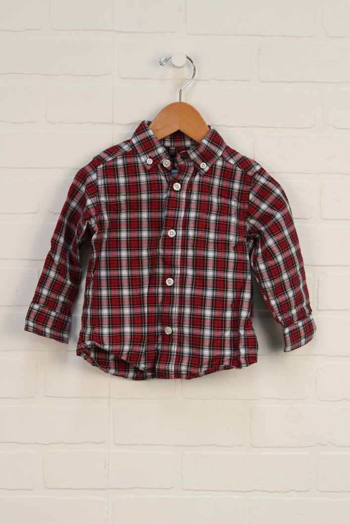 Crimson + White Plaid Button-Down (Size M/12-18M)