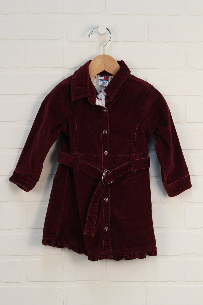 Burgundy Corduroy Dress (Size 12-18M)