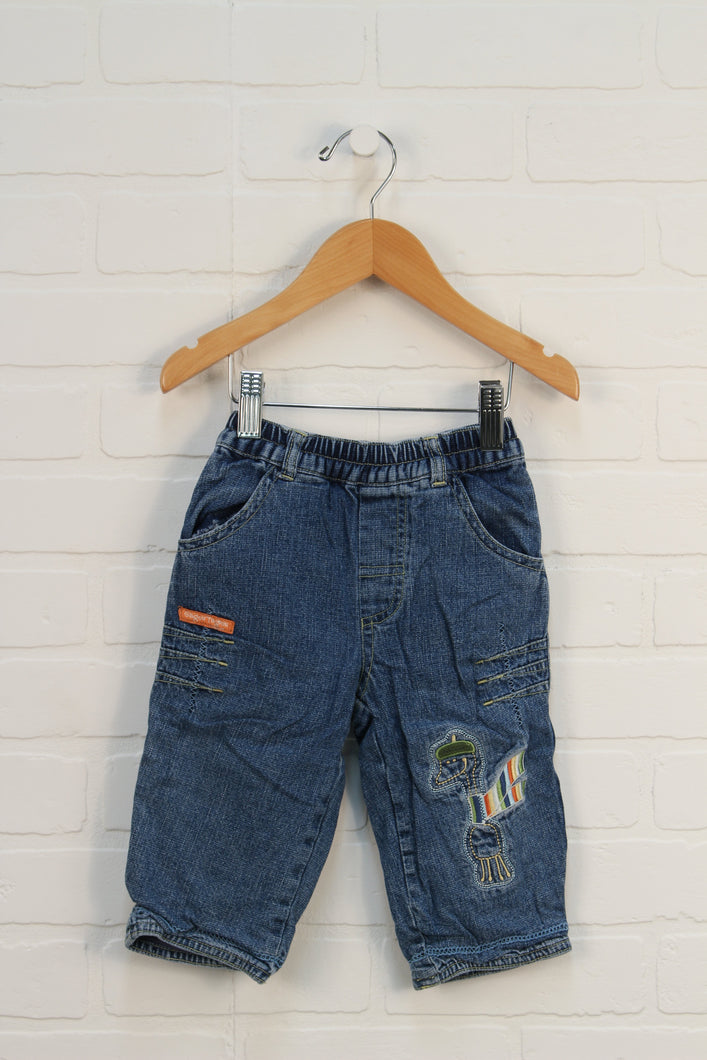 Soft Waist Jersey Lined Embroidered Jeans (Size 12M)