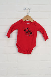 Red Graphic Onesie: Moose (Size 0-3M)