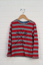 Heathered Grey + Crimson Striped Top (Size 6)