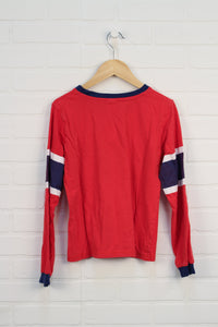 Red + Blue Graphic Top: Montreal Canadiens (Size L/12)