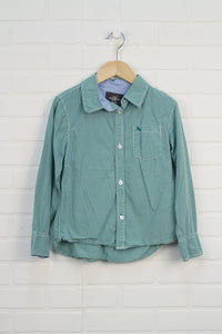Green + White Gingham Button-Up (Size 122/6-7)