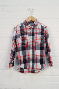 White + Coral Plaid Button-Down (Size 7)