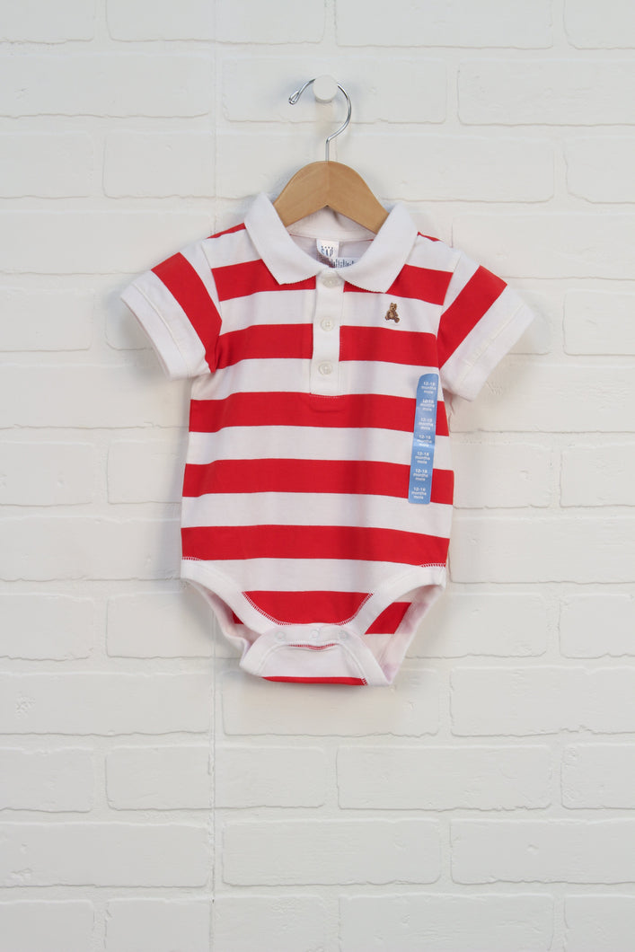 NWT Red + White Striped Onesie (Size 12-18M)