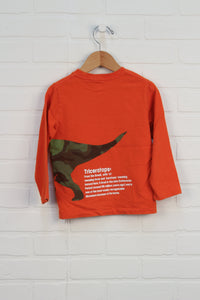 Orange Graphic T-Shirt: Triceratops (Size 4)