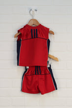 OUTFIT: Red + Navy Basketball Set (Size 6M) 2 Pieces