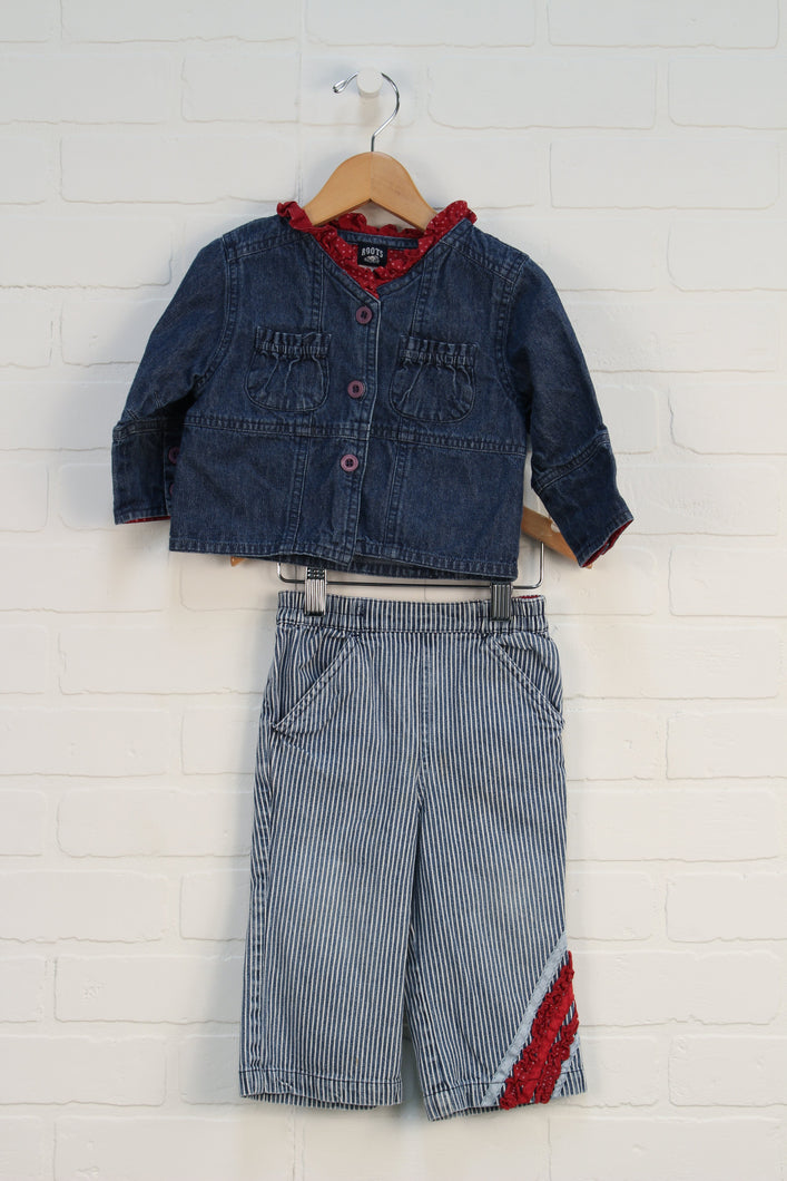 OUTFIT: Denim Ruffle Set (Size L/12-18M) 2 Pieces