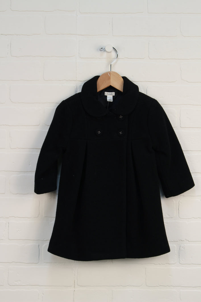 Black Wool Blend Swing Coat (Size 12-18M)