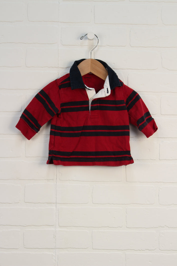Red + Black Rugby Shirt (Size 3-6M)