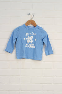 Light Blue Graphic T-Shirt: Airplane (Size 12-18M)