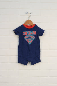 Heathered Blue Graphic Romper (0-3M)