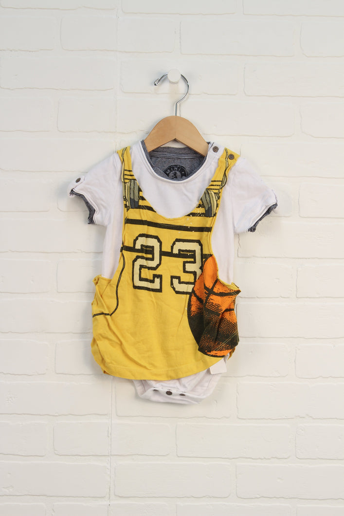 White + Yellow Graphic Onesie: Basketball