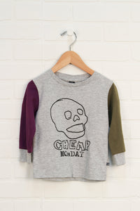 NWT Heathered Grey Graphic T-Shirt: Skull (Size 86/18M) *STAFF PICK*