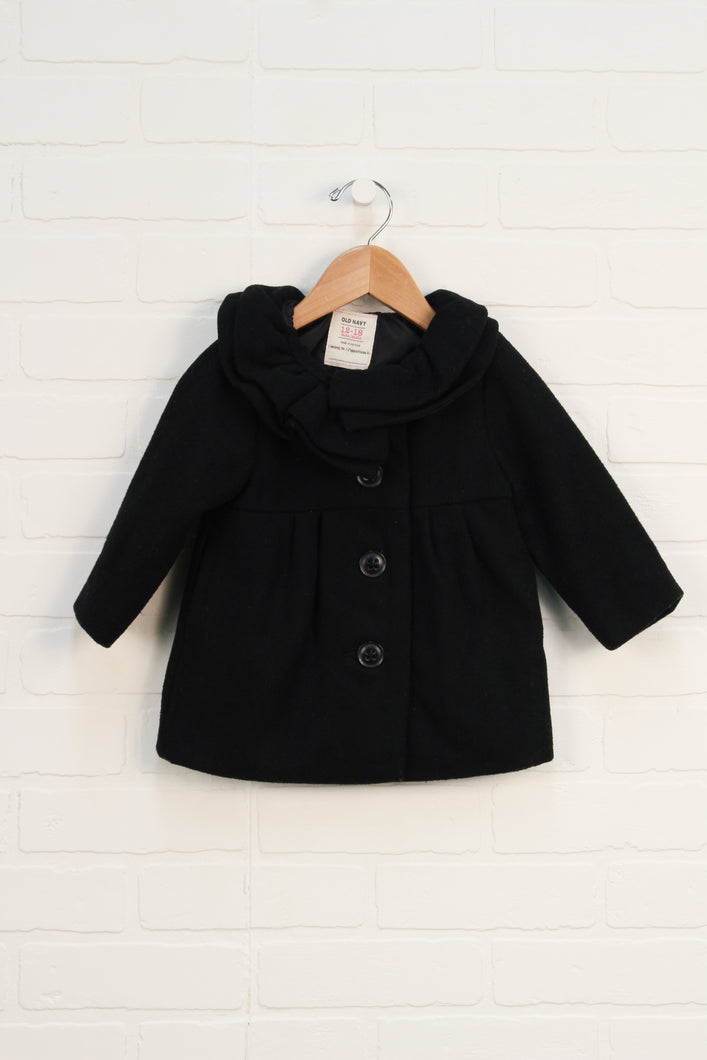 Wool-Blend Ruffle Collar Coat (Size 12-18M)