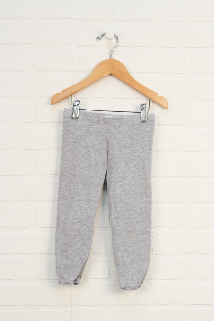 Organic Heathered Grey Lace Trimmed Leggings (Size 5-6)
