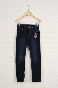 Dark Wash Appliqued Jeans: Minnie Mouse (Size 122/6-7)