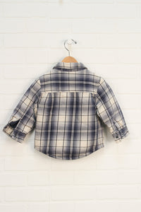 Navy + White Sherpa Lined Flannel Top (Size 18-24M)