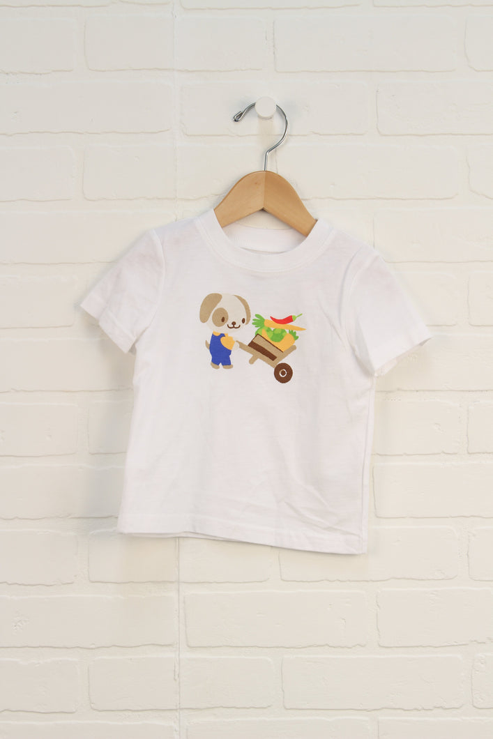 NWT White Graphic T-Shirt: Gardening Dog (Size 12-18M)