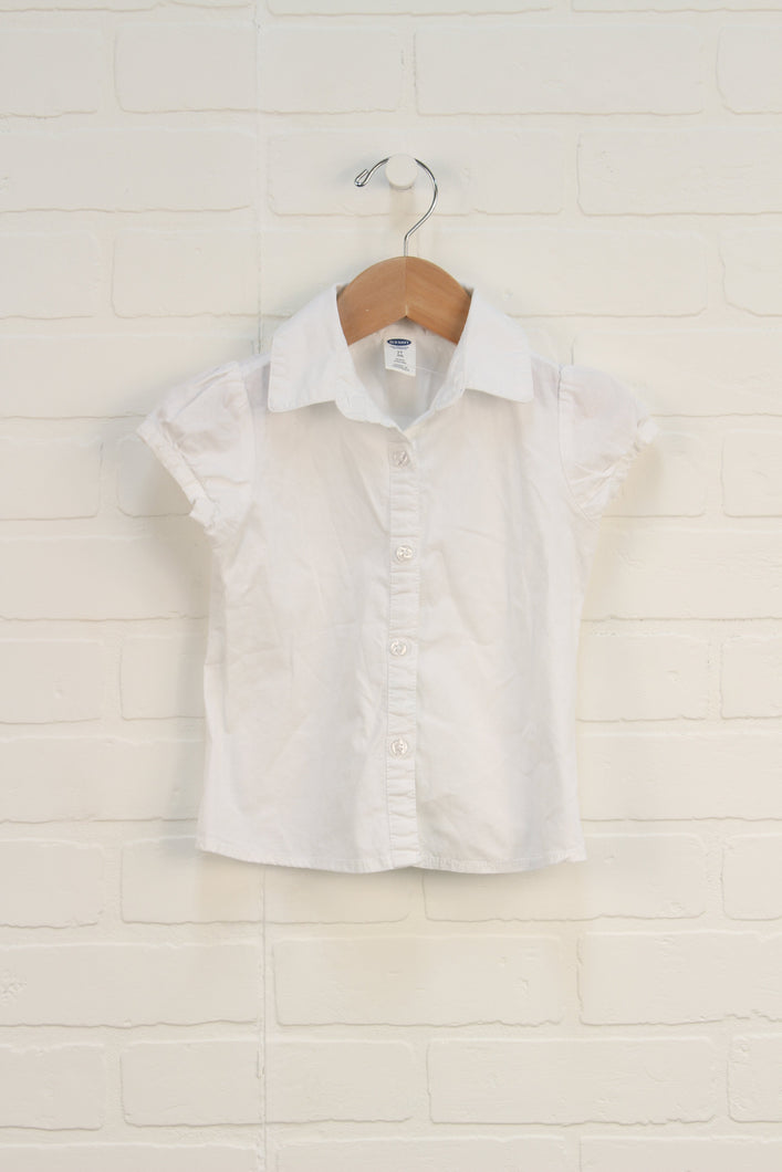 White Cap Sleeve Button-Up (Size 2T)
