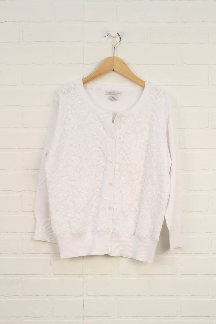 NWT White Lace Overlay Cardigan (Women's Size S)