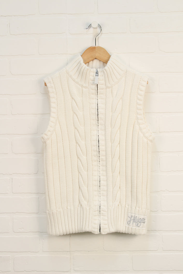 Cream Cable Knit Vest (Size XL/16)