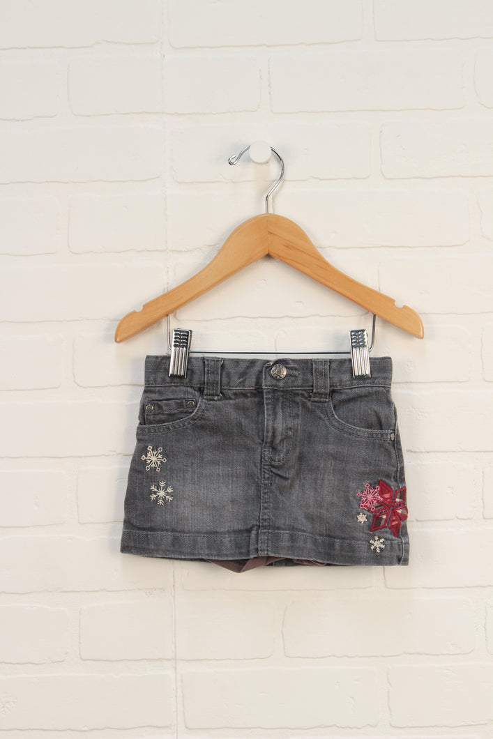 Grey Denim Skort (Size 2)