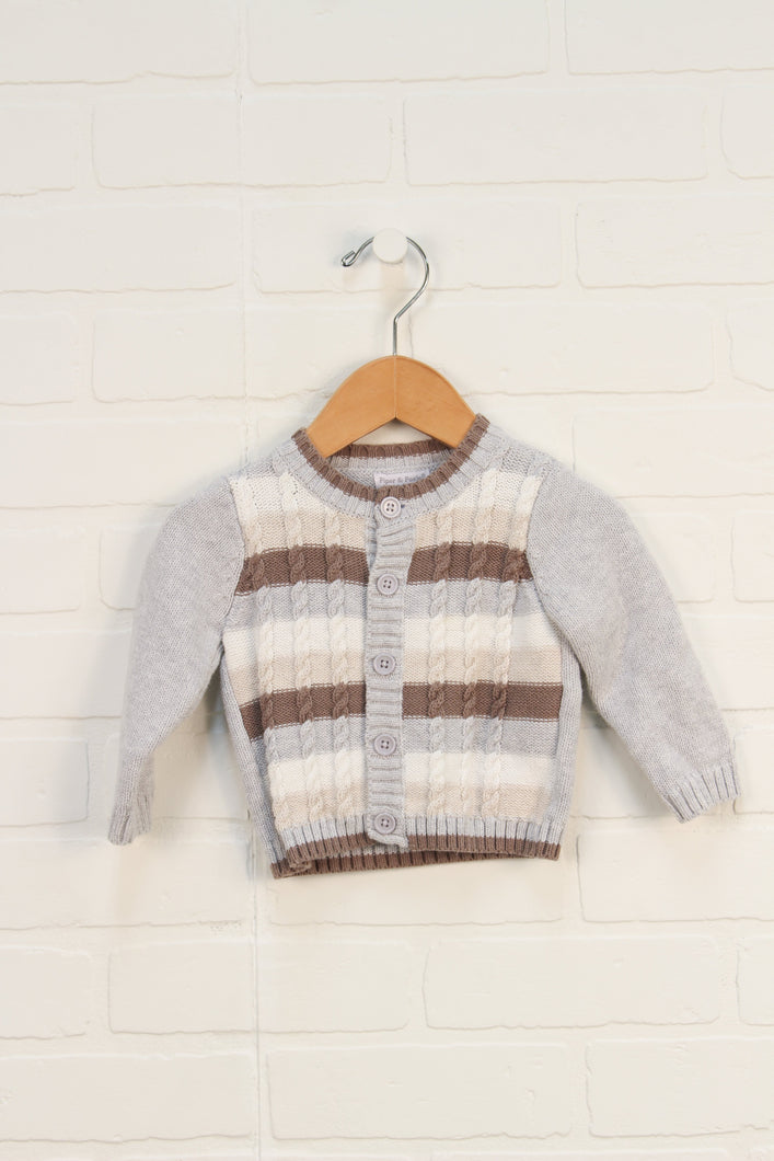 Heathered Grey + Beige Cardigan (Size 3-6M)