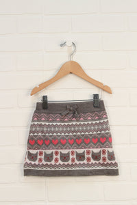 Grey + Pink Graphic Sweater Skort: Cats (Size 4)