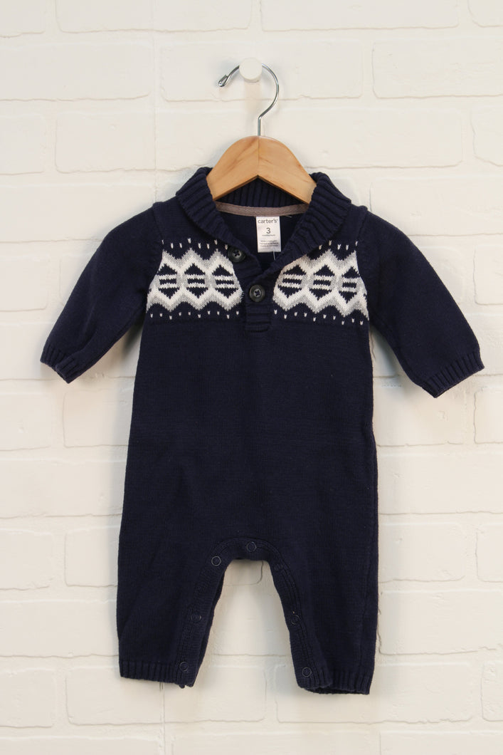 Navy Sweater Romper (Size 3M)