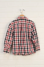 White + Crimson Plaid Button Down (Size XS/4)