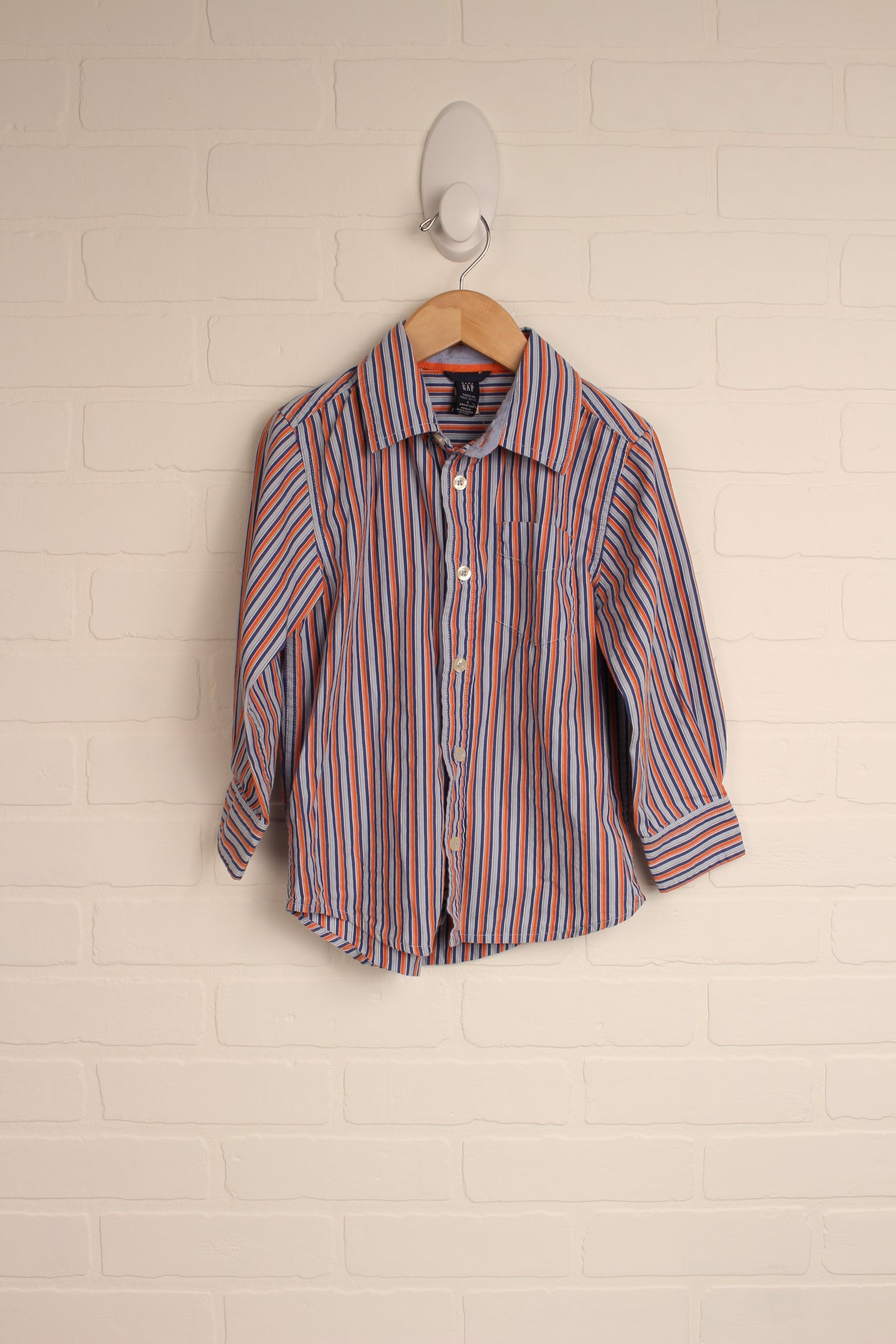 Light Blue + Orange Button-Up (Size 5)