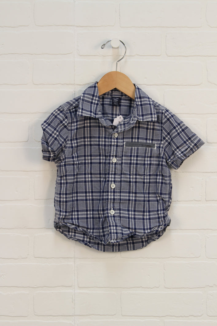 Blue + White Plaid Button Up (Size 12-18M)