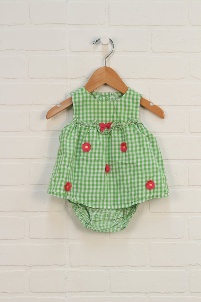 Lime + White Gingham Romper (Size 3-6M)