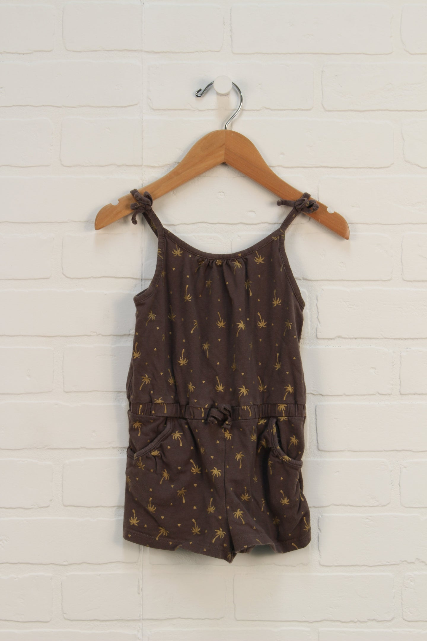 Brown + Gold Graphic Romper: Palm Trees (Size 92/1.5-2Y)