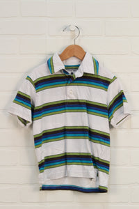 White + Blue Striped Polo (Size 4)