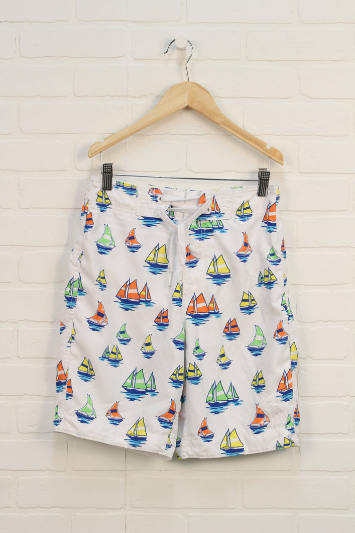 White Graphic Swim Trunks: Sail Boats (Size XL/16)