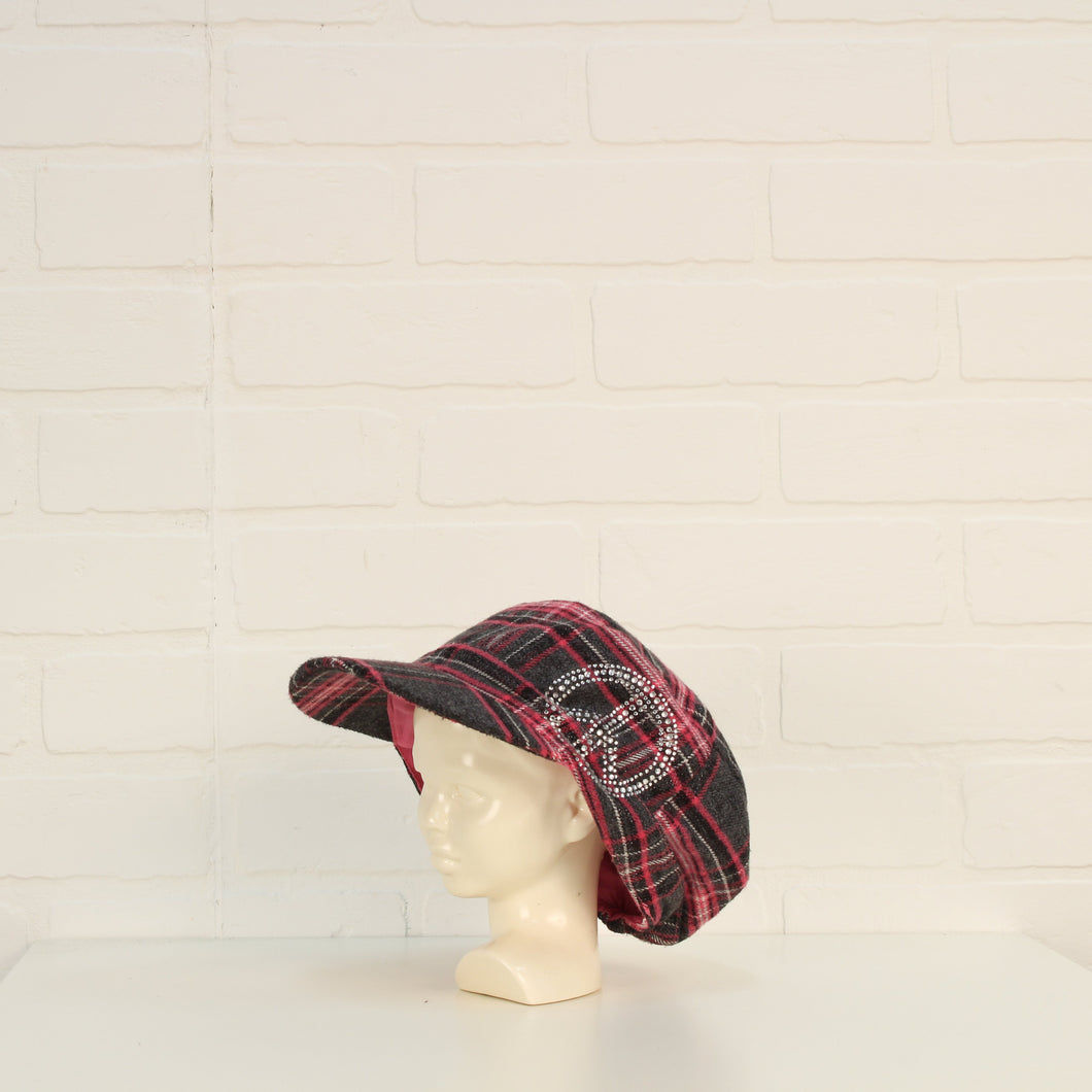 Hot Pink + Silver Plaid Patrol Cap (O/S Kid)