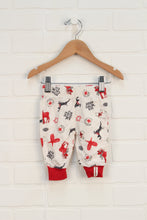 Beige + Crimson Graphic Soft Pants (Size 0-3M)