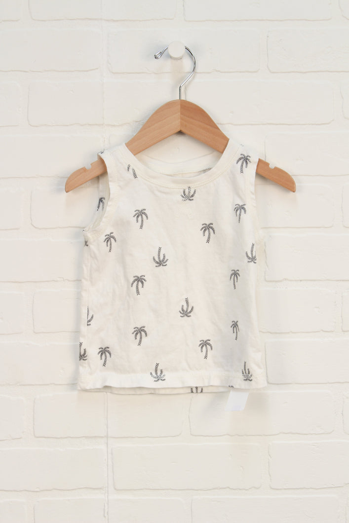 White + Black Graphic Tank: Palm Trees (Size 12-18M)