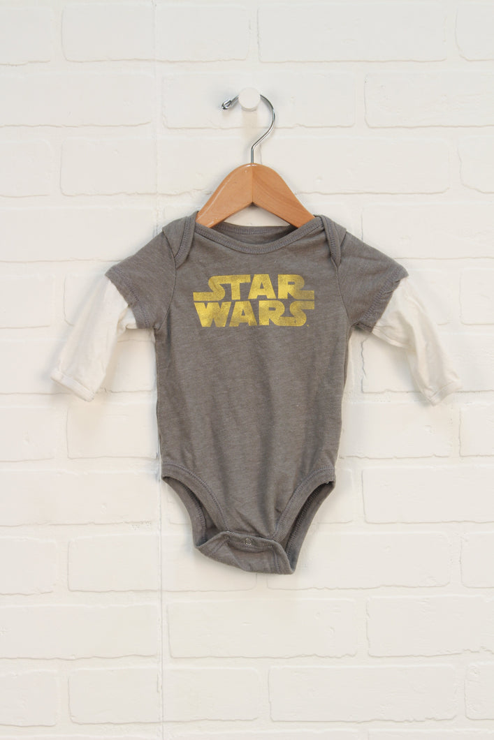 Grey + Cream Graphic Onesie: Star Wars (Size 3-6)