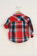 Red + Navy Plaid Button Up (Size 12-18M)