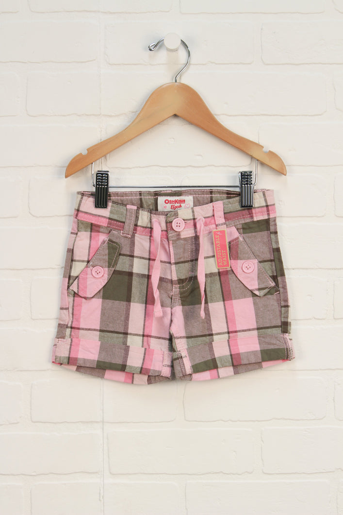 NWT Pink + Green Plaid Shorts (Size 2)