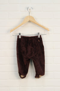 Brown Minky Footed Pants (Size 3-6M)