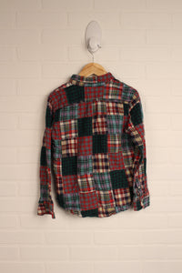 90's Style Mixed Plaid Button-Down (Size 8)