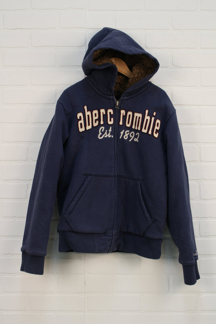 French Blue Sherpa Lined Logo Hoodie (Men's Size M)