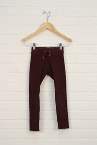 Burgundy Ribbed Leggings (Size 128/8)