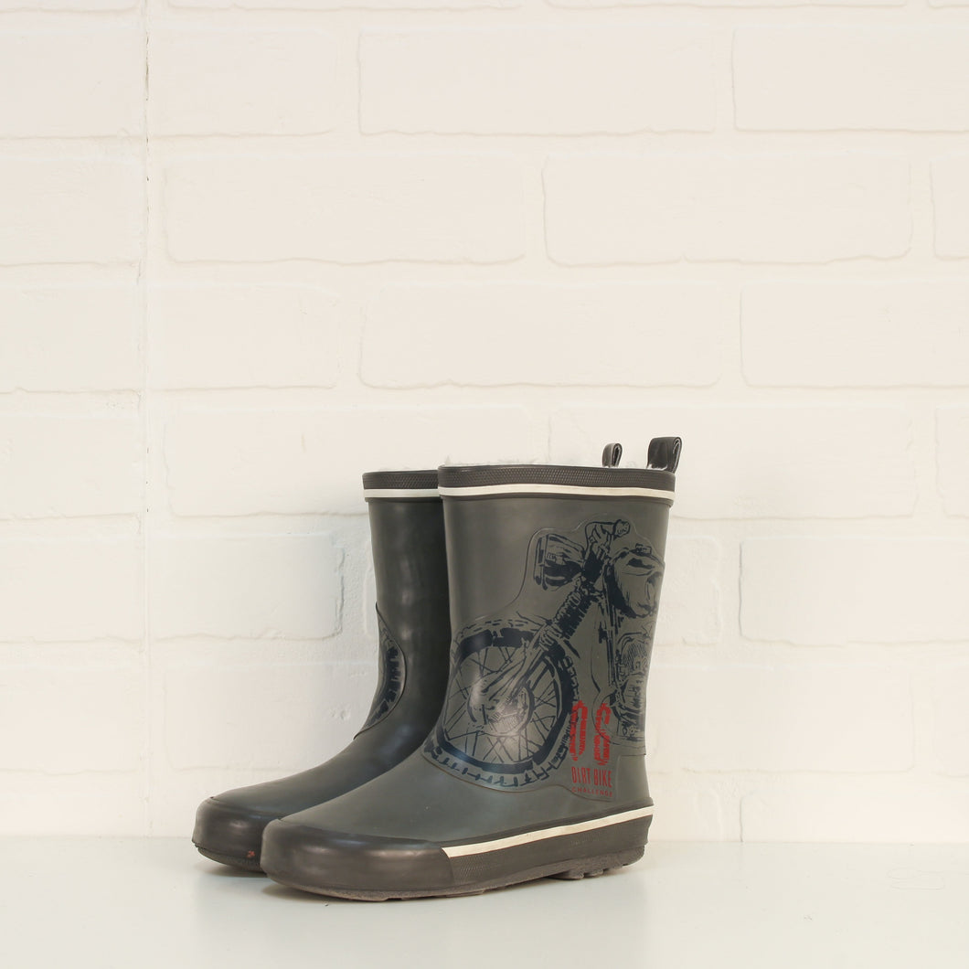 Grey Minky Lined Graphic Rubber Boots: Motorcycle (Little Kids Shoe Size 12)