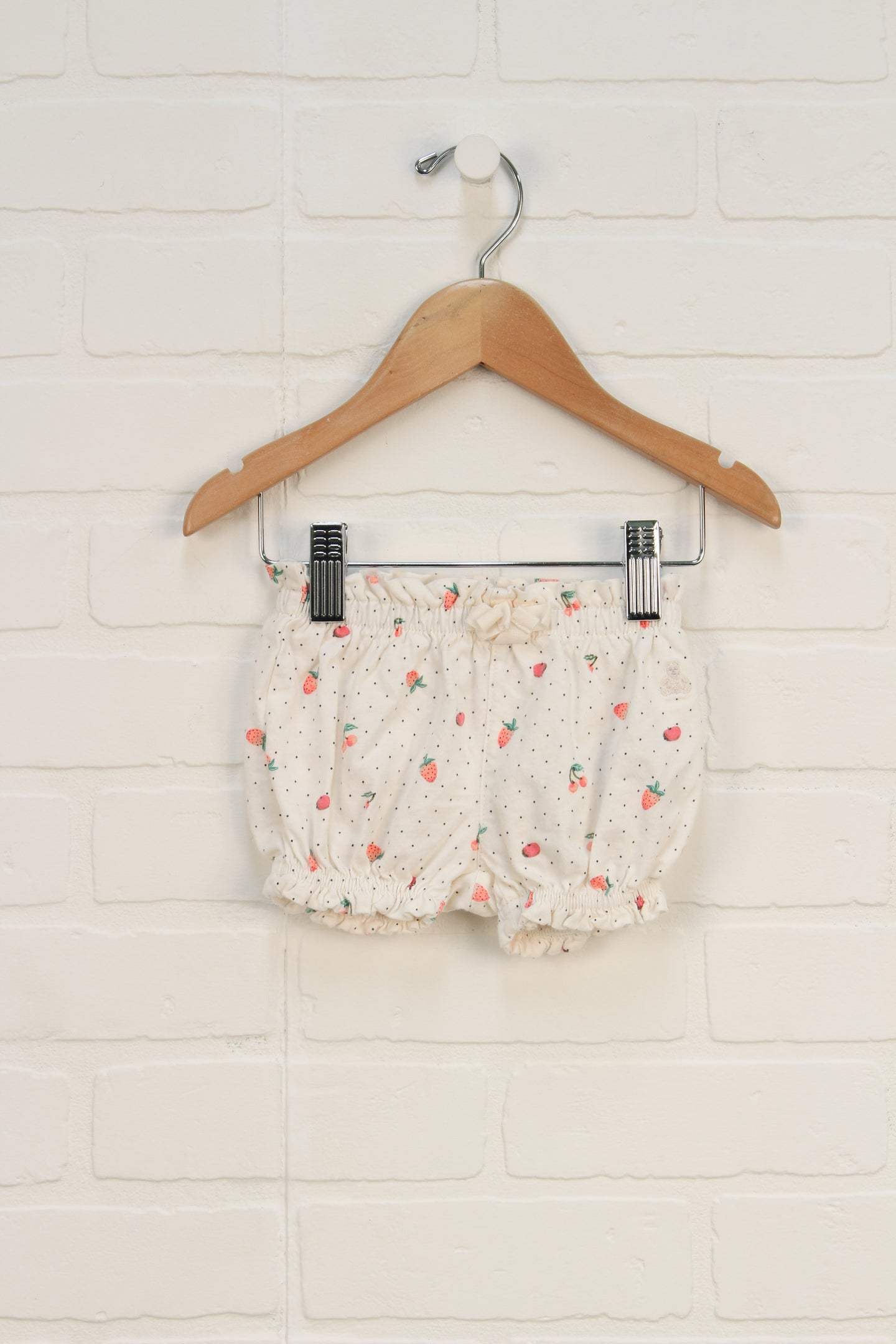 Cream + Pink Bubble Shorts (Size 0-3M)