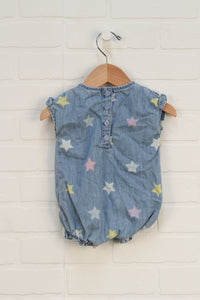 Vintage Wash Denim Romper (Size 0-3M) *STAFF PICK*